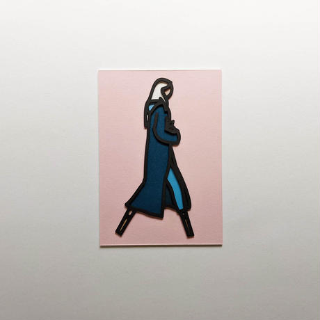 LONG COAT. LASER CUT POSTCARD / Julian Opie