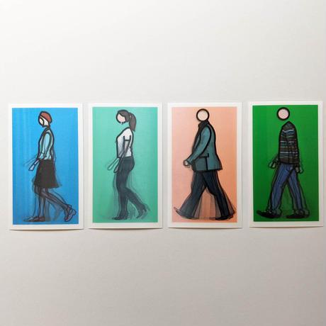 WALKING FIGURES 1, LENTICULAR POSTCARD SET/ Julian Opie