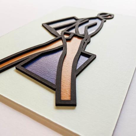 White zipper, 2019 / LASER CUT POSTCARD / Julian Opie