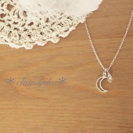 月に願いを〜 クレッセントムーン x ハーキマーダイヤモンドのネックレス