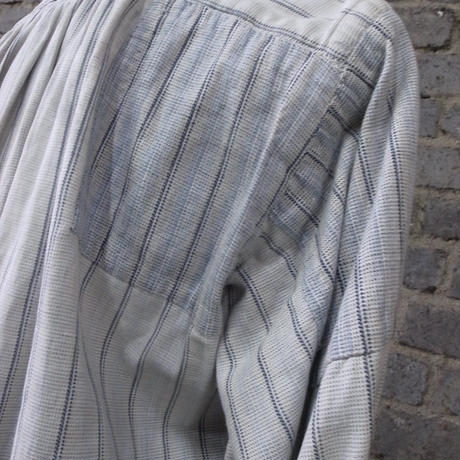 "1910-1920's salt&pepper striped frenchwork shirt ""patched art"""
