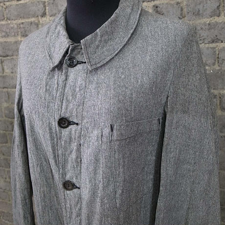 "early 20th c. french salt&pepper cotton duster coat "" deadstock"""