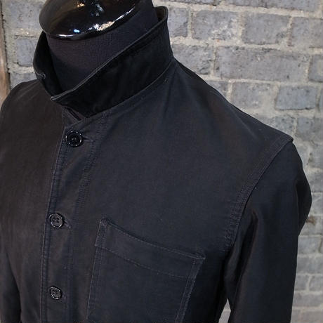 "mid 20th c. ""vulcain"" french black moleskin work jacket"
