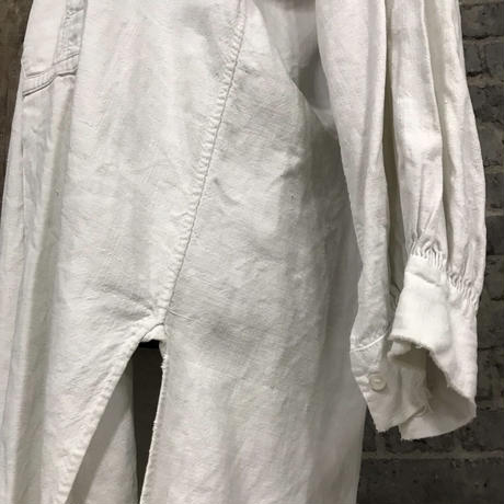 "early 20th c. french linen work shirt ""shell botton"""