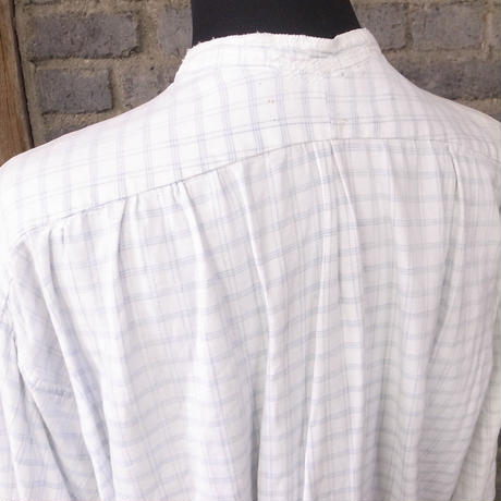"early 20th c. french linen cotton work shirt ""indigo checked"""