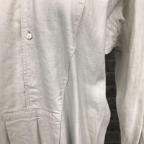 "early 20th c. french linen work shirt ""shell botton"""