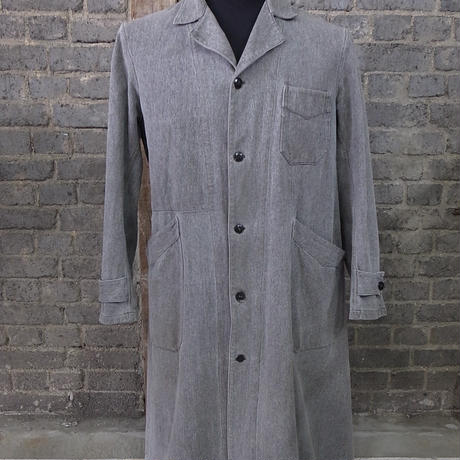 mid 20th c. french salt&pepper military  cotton duster coat