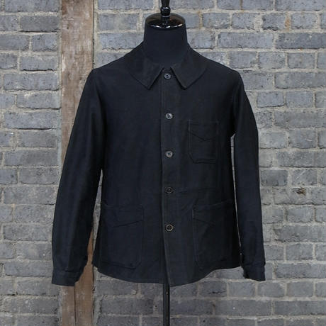 "late 19th c.  french antique  work jacket "" black moleskin """