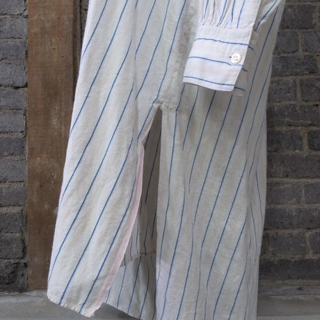 early 20th c. french striped cotton linen shirt