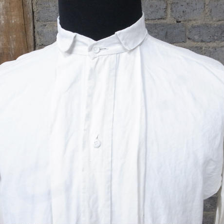 "early 20th c. french linen work shirt ""glass botton"""