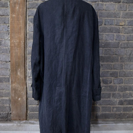 early 20th c. french black indigo linen work coat