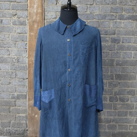 "early 20th c. french linen work coat ""indigo biaude"""