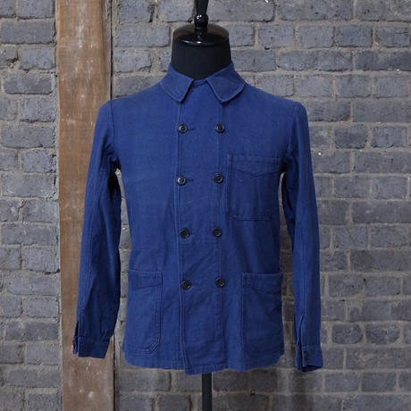 early 20th c. french double breasted cotton work jacket
