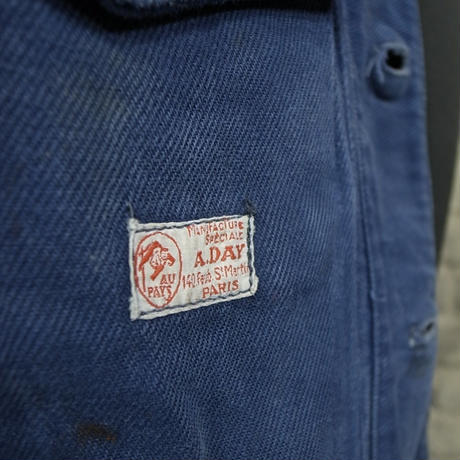 "mid 20th c.  french cotton work jacket ""manufacture a.day 140 gain st. martin paris"""