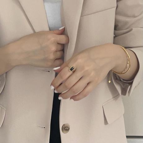 silver925 square gemstone ring