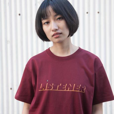 ヘビーリスナーTシャツ バーガンディ UNISEX XS〜XXL