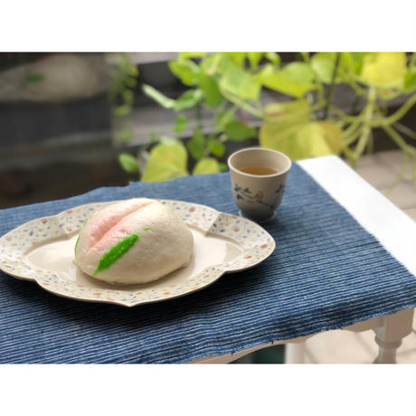 あお山ヒュッテ| タッセルマット (blue stripe)