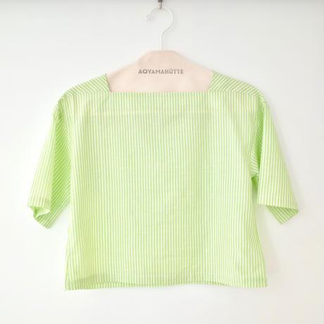 "A .Dupré  | Square Neck Short Tops ""Neon Green strios"""