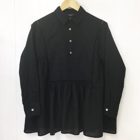 point de Japon / Pintuck Gathered Top / Black
