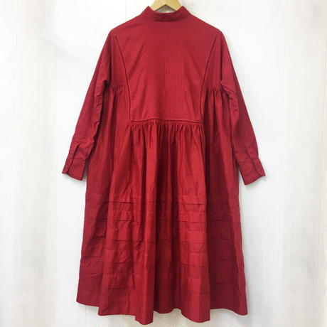point de Japon / Pintuck Gathered Shirt Dress / Red