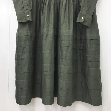 point de Japon / Pintuck Gathered Shirt Dress / Khaki Green