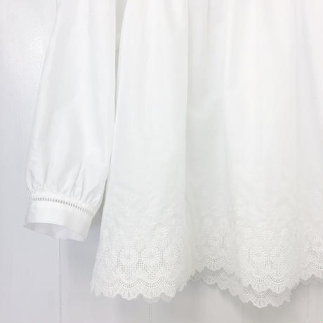 point de Japon / Square Neck Gathered Top / Off White