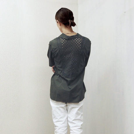 point de Japon / Patched Lace Blouse / Khaki Green