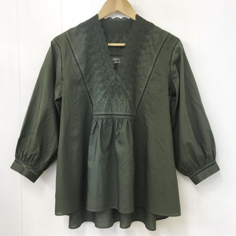 point de Japon / V-neck Gathered Top / Khaki Green