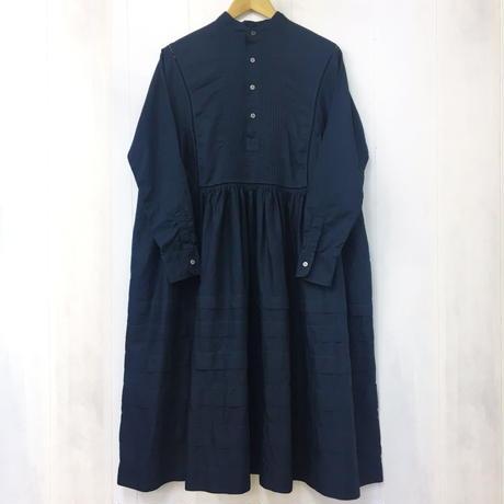 point de Japon / Band Collar Pintuck Gathered Dress / Navy