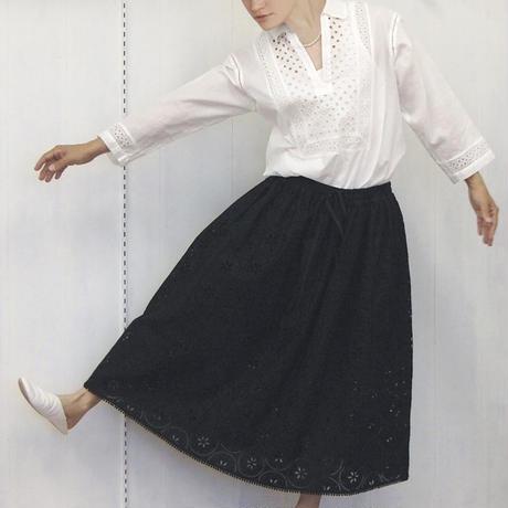 point de Japon / Geometric Eyelet Skirt / Black