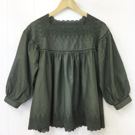 point de Japon / Square Neck Gathered Top / Khaki Green