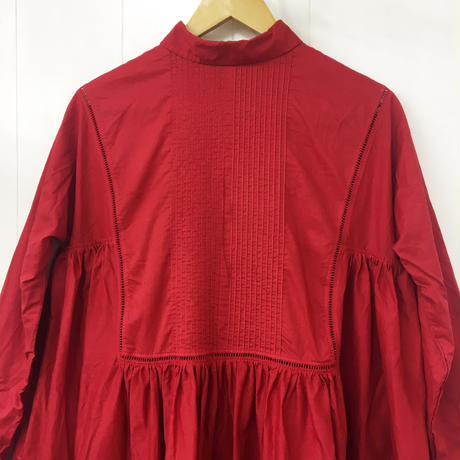 point de Japon / Pintuck Gathered Shirt Dress / Red