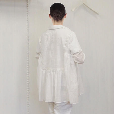 point de Japon / Pintuck Gathered Top / Off White