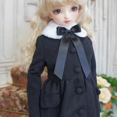 MDD ミニドルフィードリーム服 リボン ファーコート(ブラック)