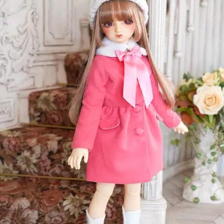MDD ミニドルフィードリーム服 リボン ファーコート(ピンク)