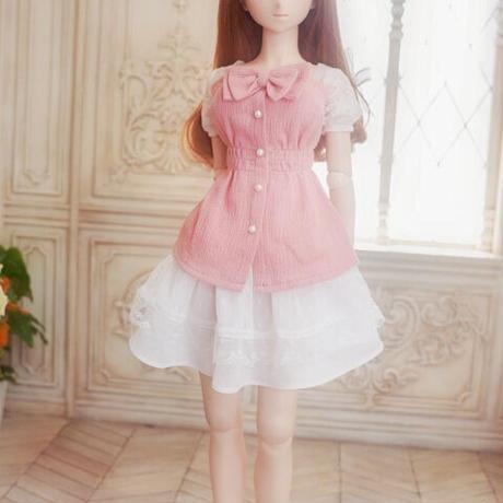 DDサイズ ドルフィードリーム 洋服 リボンワンピース(ピンク)
