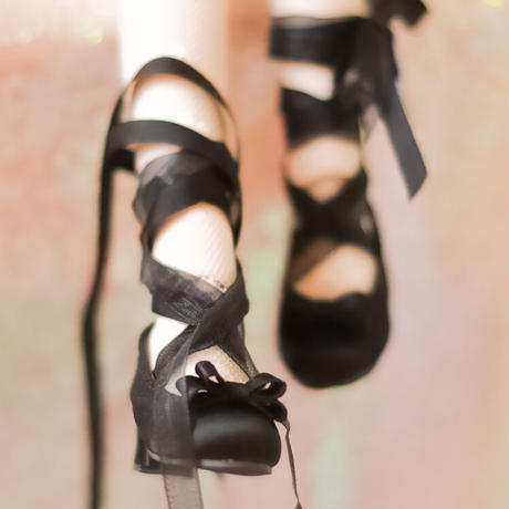 MDD 1/4 ドール靴 ミニドルフィードリーム靴 リボンレース パンプス(ブラック)