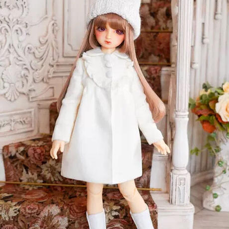 MDD ミニドルフィードリーム服 女の子 ドール用コート(ホワイト)