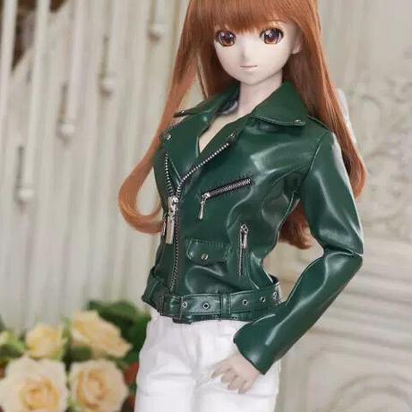 DDサイズ ドルフィードリーム 洋服 ライダースジャケット(グリーン)