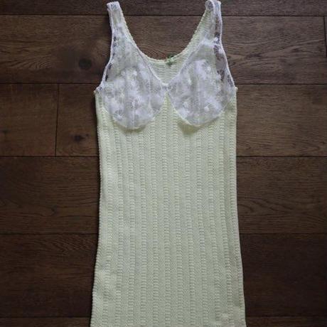 lemon yellow lace knit tops