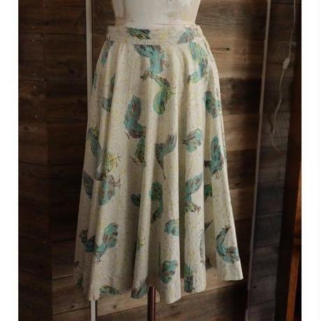 50's blue bird textile circular skirt