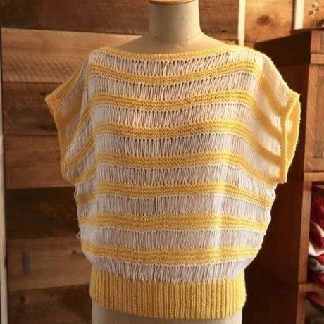 yellow border knit tops