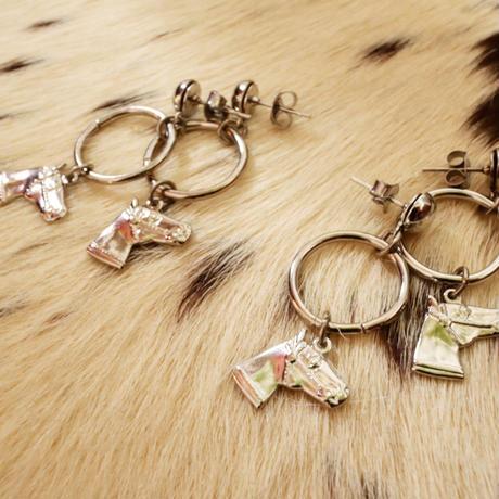 80's horse motif pierce&earring
