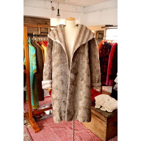 brown shawlcollar fur coat