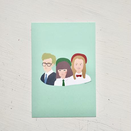 """""""God Help The Girl"""" Eve, James, Cassie postcard"""