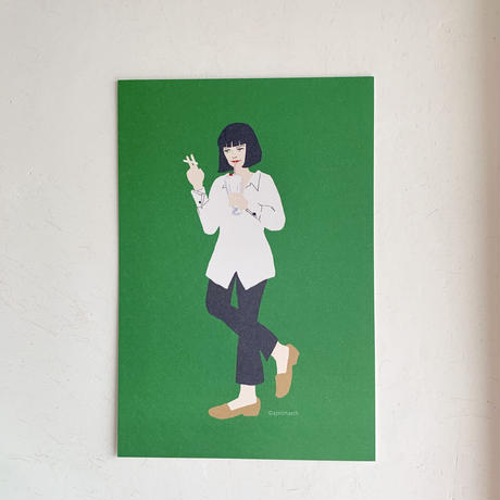 """Mia from """"Pulp Fiction"""" postcard"""