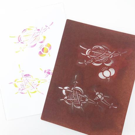 【2L版・型染めあそび#6】梅に松葉紋