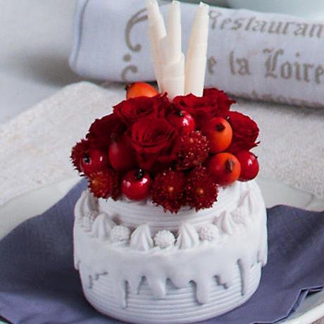 母の日にオススメ★プリザーブドフラワーのデコレーションケーキ・イチゴ