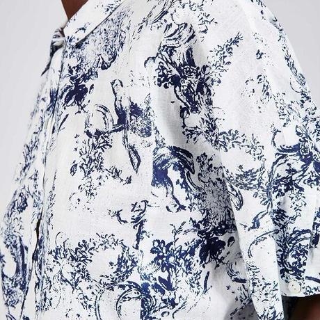 【Cotelac】フェザーコットンインディゴ染めシャツ