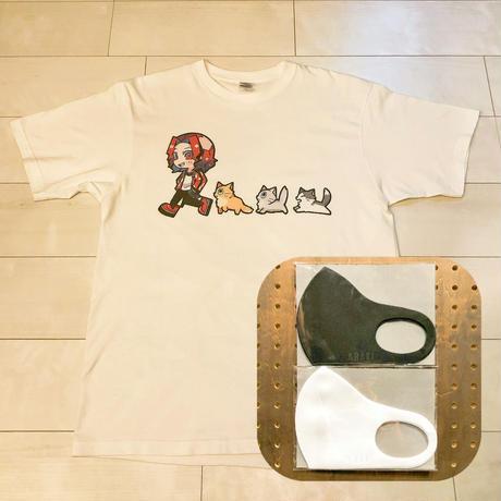猫と一緒Tシャツ+アラキマスク(ホワイト/ブラック) 2枚セット